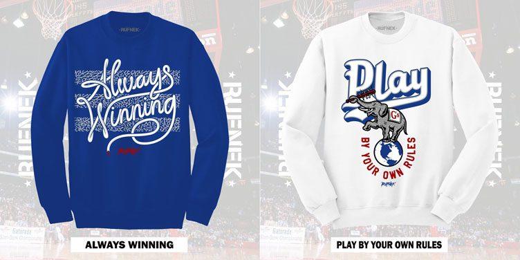 "902aca4b030370 Original RUFNEK Sneaker Sweatshirts to Match the Air Jordan 3 ""True Blue"""