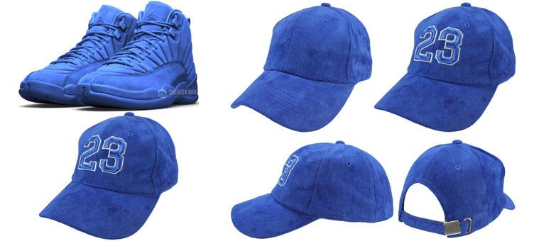 27e45a441b8246 Jordan 12 Blue Suede Sneaker Hat by DAD CAPS