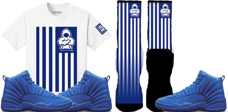 "wholesale dealer b8171 d48c1 Original RUFNEK Sneaker Clothing to Match the Air Jordan 12 ""Blue Suede"""