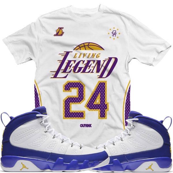 7d0319321d5b40 Jordan 9 Kobe Lakers Sneaker Shirts by OutRank