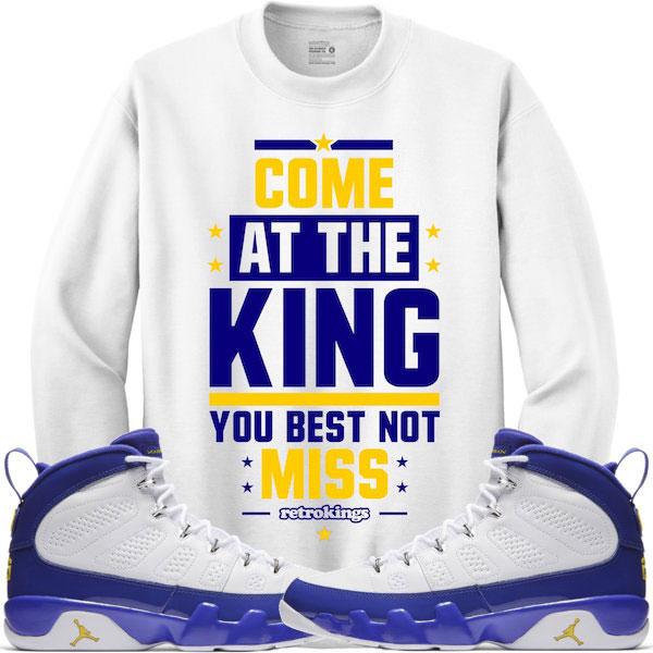 9e43f556dcaf Jordan 9 Kobe Lakers Sneaker Sweat Shirts by Retro Kings ...