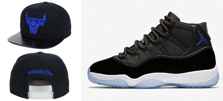 """Air Jordan 11 """"Space Jam"""" x Mitchell and Ness Chicago Bulls Space Jammer Hat"""