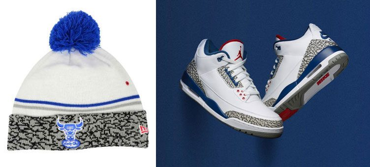 "ed63e3e5e338e9 New Era Chicago Bulls Sneaker Hook Knit Hat to Match the Air Jordan 3 ""True  Blue"""