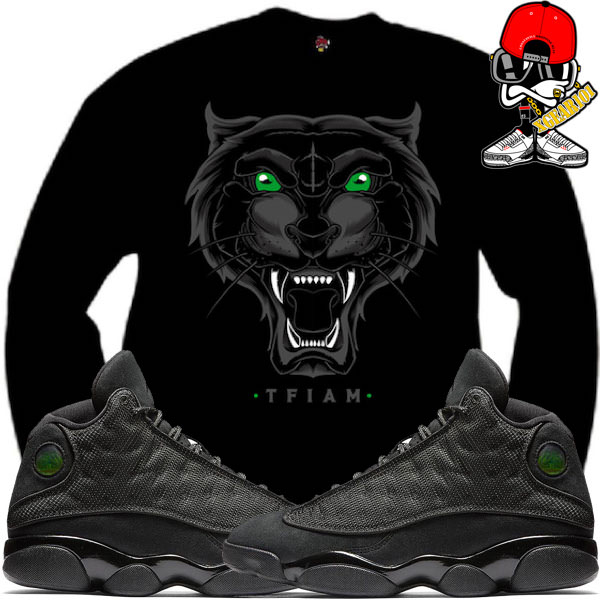 quality design ce2a9 214e6 air-jordan-13-black-cat-sneaker-match-shirt-