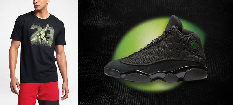 bad7e24f6fe8a4 Air Jordan 13 Black Cat Sneaker Tee