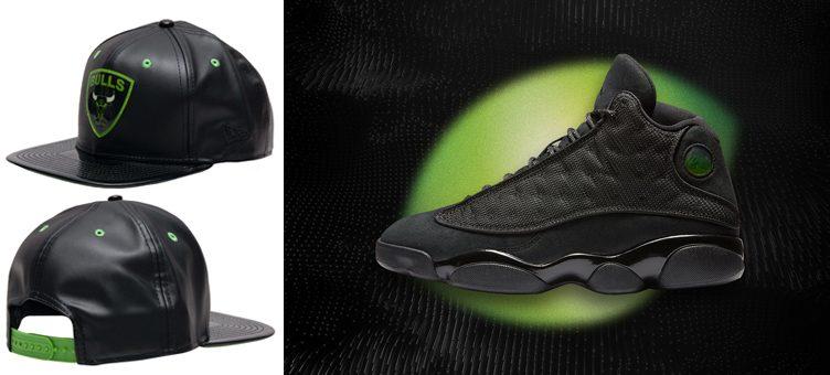 "New Era Chicago Bulls Leather Snapback Hat to Match the Air Jordan 13 ""Black Cat"""