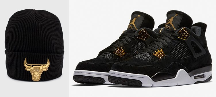 """Mitchell & Ness NBA Foil Leather Knit Hats to Match the Air Jordan 4 """"Royalty"""""""