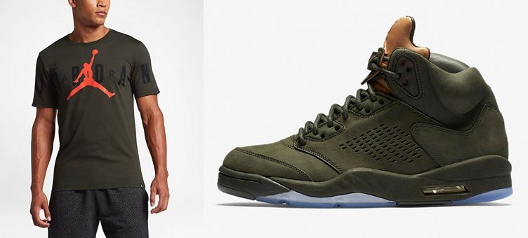 "Jordan Sequoia Colored Shirts to Match the Air Jordan 5 ""Take Flight"""