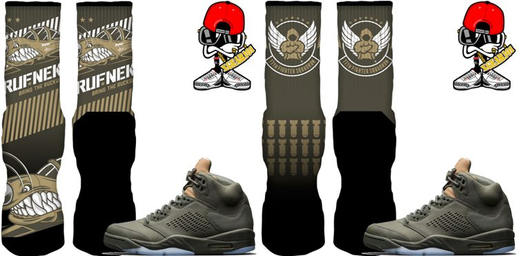 "Original RUFNEK Sneaker Socks to Match the Air Jordan 5 ""Take Flight"""