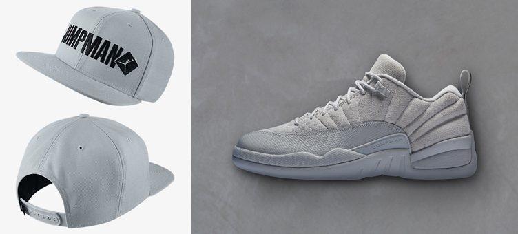 """41e332b2e94997 Air Jordan 12 Low """"Wolf Grey"""" x Jordan Jumpman Script Snapback Hat"""