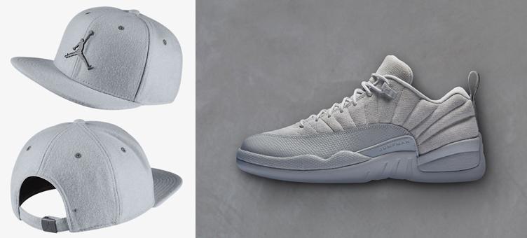 a9727919209 Air Jordan 12 Low Wolf Grey Strapback Hat   SneakerFits.com