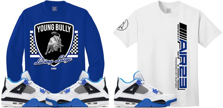 "Original RUFNEK Sneaker Shirts to Match the Air Jordan 4 ""Motorsport"""