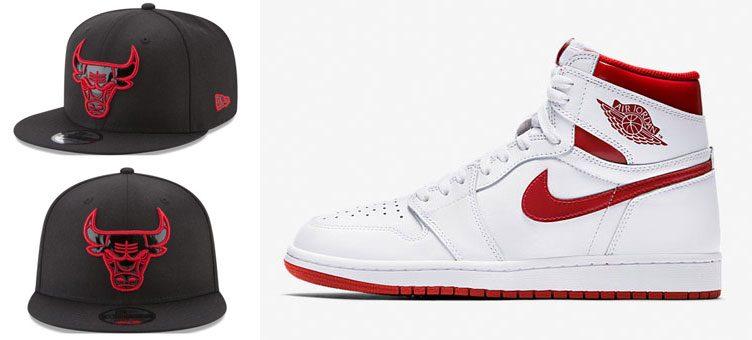 "Air Jordan 1 Retro ""Metallic Red"" x New Era Chicago Bulls Patent Snapback Cap"