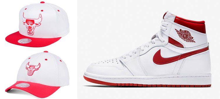"""Mitchell & Ness Bulls Hook Up Hats to Match the Air Jordan 1 """"Metallic Red"""""""