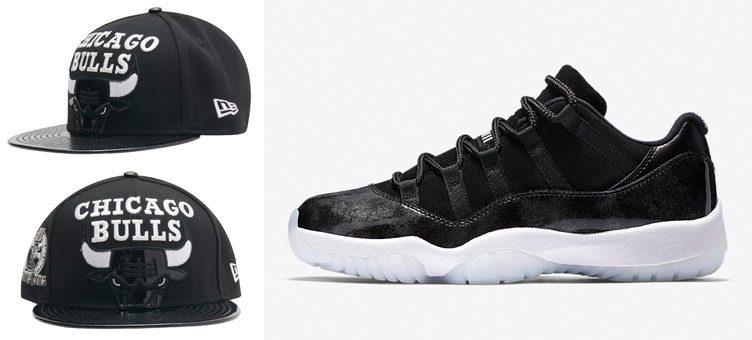 "Air Jordan 11 Low ""Barons"" x New Era Chicago Bulls Big Patent Snapback Hat"