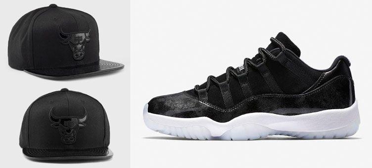 "Air Jordan 11 Low ""Barons"" x Mitchell & Ness Chicago Bulls Patent Visor Hat"