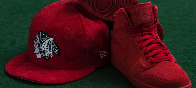 "Air Jordan 1 High ""Red Suede"" x New Era Chicago Blackhawks Suede Snapback Hat"