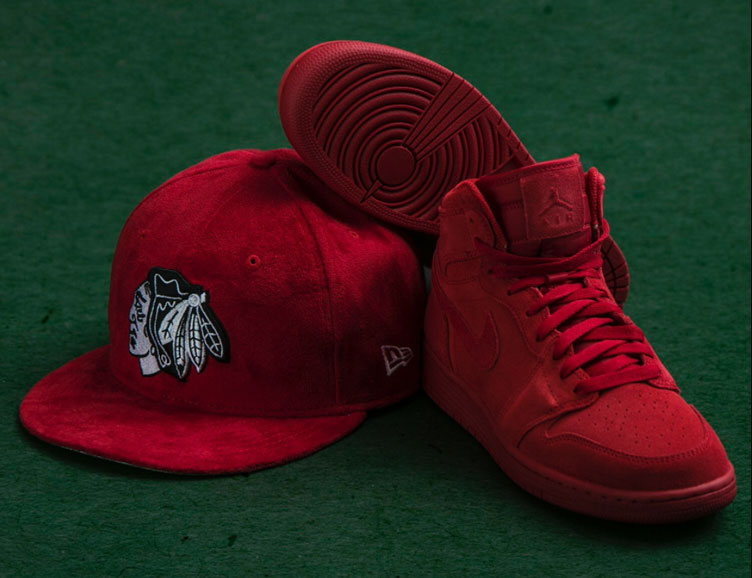 "ba08d69c2f0 Air Jordan 1 High ""Red Suede"" x New Era Chicago Blackhawks Suede Snapback  Hat"