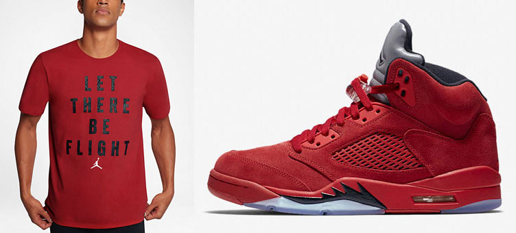 f7a592695825c5 Air Jordan 5 Red Suede Shirts to Match