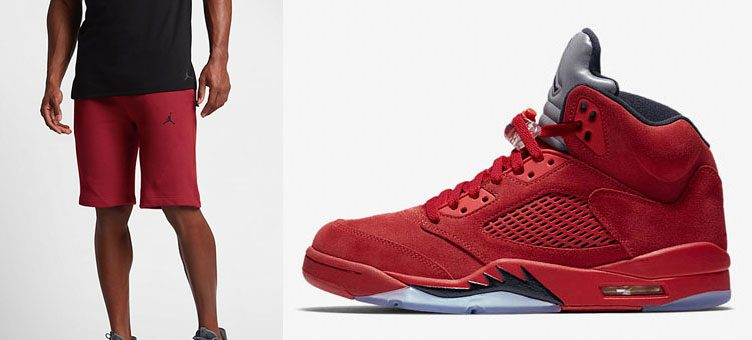 "Air Jordan 5 ""Red Suede"" x Jordan Sportswear Wings Fleece Shorts"