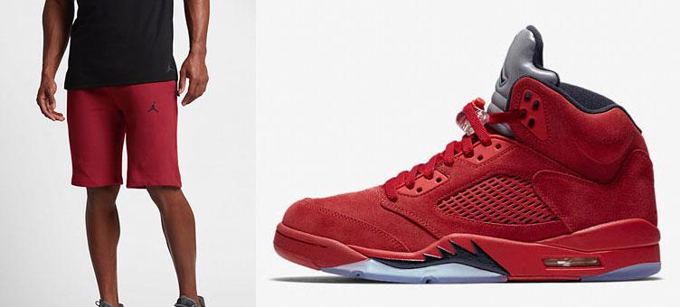 ae43b425669 Air Jordan 5 Red Suede Shorts | SneakerFits.com