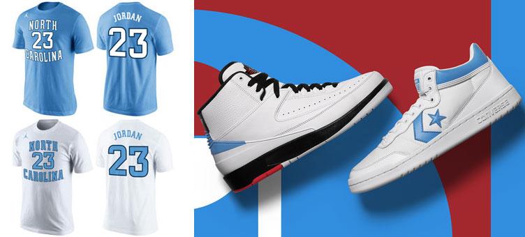 sale retailer 82520 a41e1 Jordan x Converse Pack Michael Jordan UNC Shirt ...