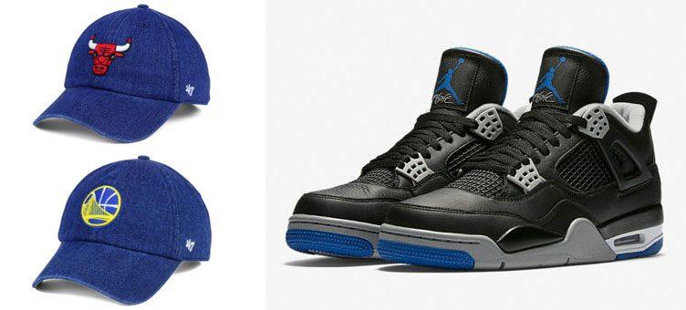 """Air Jordan 4 """"Alternate Motorsport"""" x '47 NBA All Denim Clean Up Strapback Caps"""