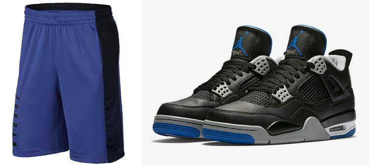 "Air Jordan 4 ""Alternate Motorsport"" x ""Game Royal/Black"" Jordan Game Shorts"