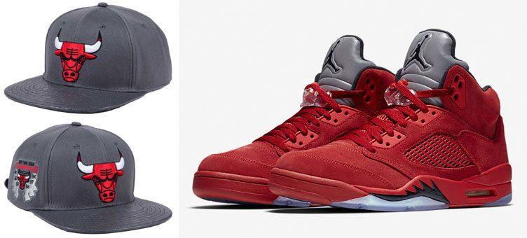 jordan-5-red-suede-bulls-hat-pro-standard