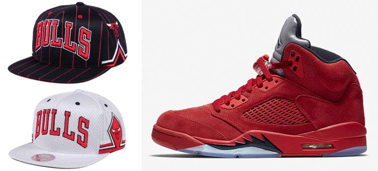 9b82b36f7 Jordan 5 Red Suede Bulls Jersey Match Hats | SneakerFits.com