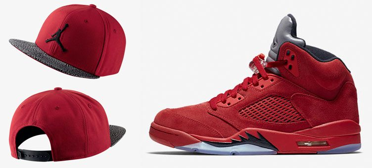 jordan-5-red-suede-jumpman-elephant-hat