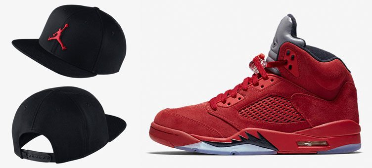 jordan-5-red-toro-suede-hat