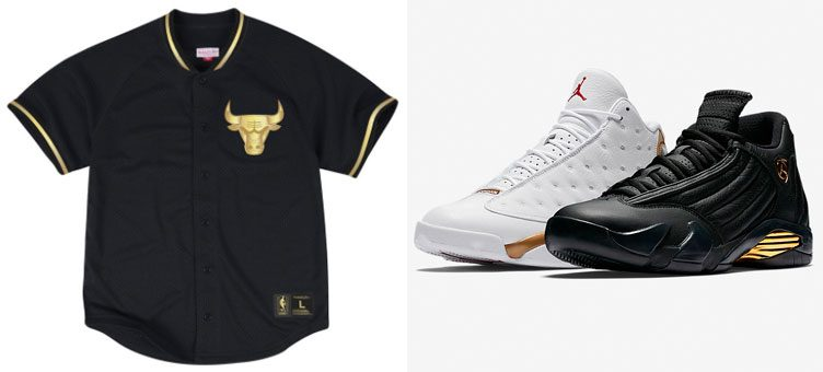 Air Jordan 13/14 DMP Finals Pack x Mitchell & Ness NBA Mesh Button Team Jerseys