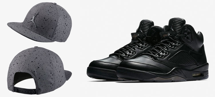 Air Jordan 5 Premium Triple Black Hat Match  f2076e33d