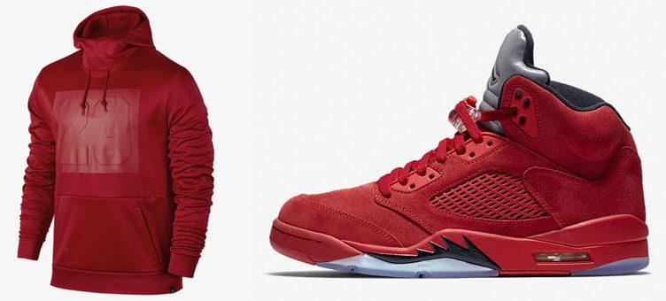"""Air Jordan 5 """"Red Suede"""" x Jordan Rise 23 Pullover Hoodie"""