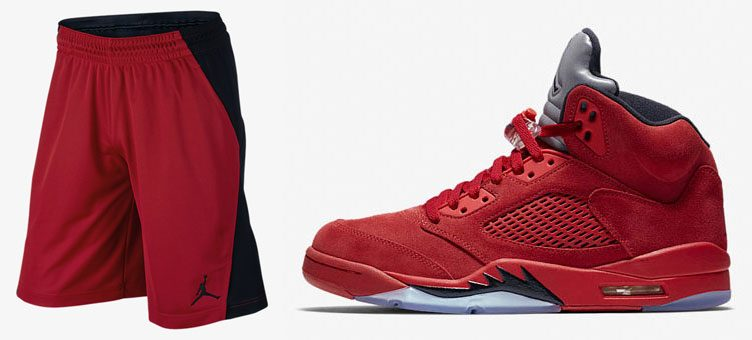 air-jordan-5-red-suede-shorts