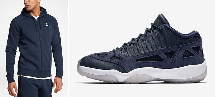 "Air Jordan 11 Low IE ""Obsidian"" x Jordan Flight Full-Zip Basketball Hoodie"