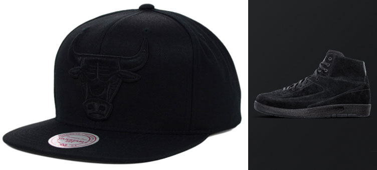 Air Jordan 2 Decon Black Bulls Snapback Cap  5c1177fee7b