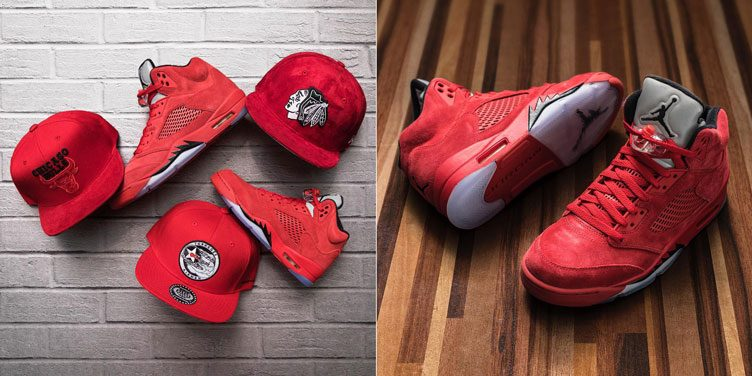 "Snapback Caps to Match the Air Jordan 5 ""Red Suede"" at Jimmy Jazz"