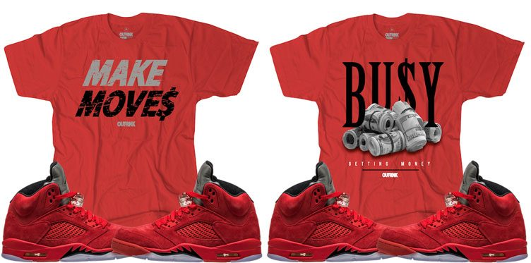 "OutRank Sneaker Tees to Match the Air Jordan 5 ""Red Suede"""
