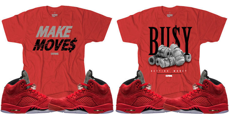 a458615c67c6a1 Red Suede Jordan 5 Sneaker Match Tees by OutRank