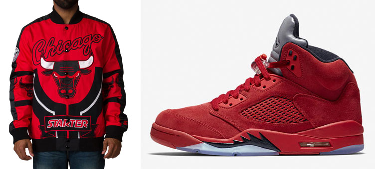 4f757bf5375 Jordan 5 Red Suede x Starter Bulls Jacket