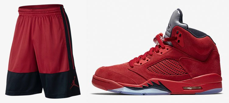 red-suede-jordan-5-shorts
