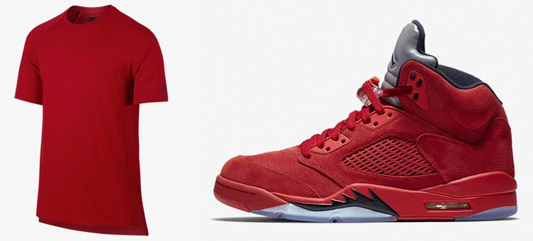 red-suede-jordan-5-sneaker-shirt