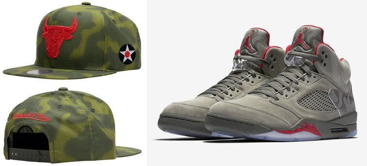 """Air Jordan 5 """"Camo"""" x Mitchell   Ness Chicago Bulls Retro 5 Camo Snapback  Cap e1404e59a94"""
