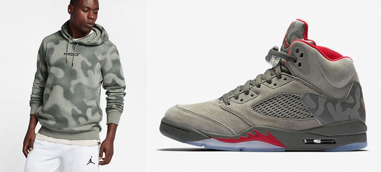 "Air Jordan 5 ""Camo"" x Jordan Sportswear P51 Flight Fleece Pullover Hoodie"