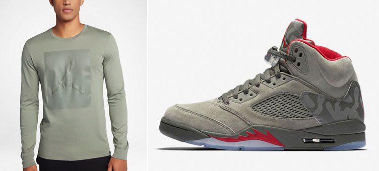 """Air Jordan 5 """"Camo"""" x Jordan P51 Long Sleeve Shirt"""