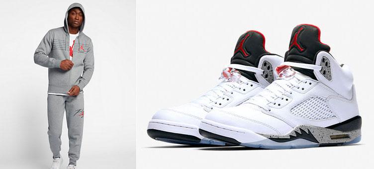 cf1e5b03861d Air Jordan 5 White Cement Hoodie and Pants