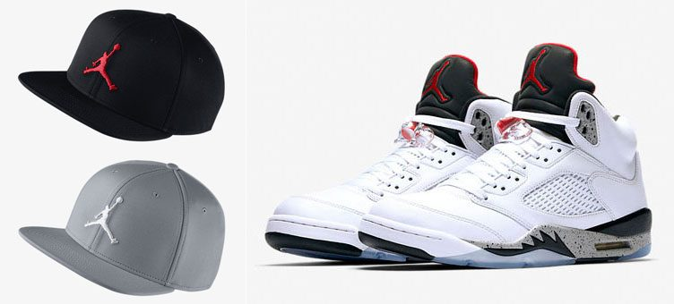 "Air Jordan 5 ""White Cement"" x Jordan Jumpman Snapback Hats"