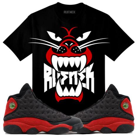 5254bf0e671514 Jordan 13 Bred Sneaker Match Shirts by Original RUFNEK